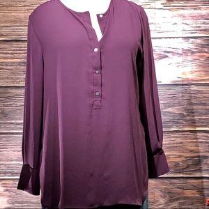LOFT Purple Henley Tunic Blouse